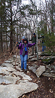 NWA Democrat-Gazette/FLIP PUTTHOFF <br /> A rough switchback challenges hikers Jan. 1 2019 during their trek.