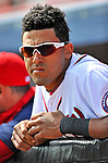 4 March 2012: Washington Nationals shortstop Ian Desmond looks out from the dugout prior to a game against the Houston Astros at Space Coast Stadium in Viera, Florida. The Astros defeated the Nationals 10-2 in Grapefruit League action. Mandatory Credit: Ed Wolfstein Photo
