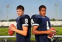 Tad Golliver, left, and Alex Anderegg, right, are quarterbacks for the 2009 Mona Shores football team...Date Shot: 08/15/09