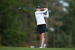 Emilia Migliaccio of the Wake Forest Demon Deacons follows through on her tee shot on the ninth hole during second round action at the Ruth's Chris Tar Heel Invitational on October 14, 2017 in Chapel Hill, North Carolina. (Brian Westerholt/Sports On Film)