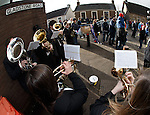 Brass band playing for the supporters outside Ochilview or as the East Stirling announcer calls it, New Firs Park...