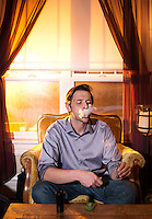 Marijuana critic for the Cannabist Jake Brown at his home in Denver, Colorado, Wednesday, January 21, 2015.<br /> <br /> Photo by Matt Nager