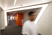 Interior hallways of Johnson Hall, Sept. 2013. (Photo by Marc Campos, Occidental College Photographer)