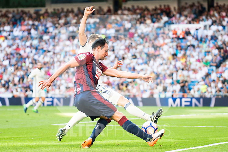 Real Madrid's player Nacho Fernandez and Eibar FC's player Kike Garcia during a match of La Liga Santander at Santiago Bernabeu Stadium in Madrid. October 02, Spain. 2016. (ALTERPHOTOS/BorjaB.Hojas)