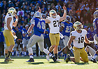 Oct. 26, 2013; Kyle Brindza (27) celebrates his 51-yard field goal.