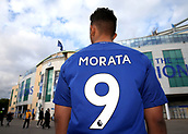 12th September 2017, Stamford Bridge, London, England; UEFA Champions League Group stage, Chelsea versus Qarabag FK; Chelsea fan looking at Stamford Bridge wearing a home Chelsea shirt with Alvaro Morata of Chelsea on the back