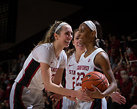 Stanford, CA - January 24, 2020: Kiana Williams, Lexie Hull, Lacie Hull at Maples Pavilion. The Stanford Cardinal defeated the Colorado Buffaloes in overtime, 76-68.