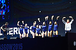 Gymnastics World Championships Womens Team Finals 27.10.15. Great Britain celebrate third place. Medal Ceremony