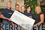Philip Brazil, Mauricio Ramos Diaz, Maurice Guilfoyle and Sean Affonso who raised EUR19,466.10 in their charity cycle from Dungloe, Co Donegal to the Gap of Dunloe, Killarney, pictured as they presented the cheque to Annamaria Gallivan, Make a Wish, Kerry branch, in the Killarney Park hotel on Wednesday night.   Copyright Kerry's Eye 2008