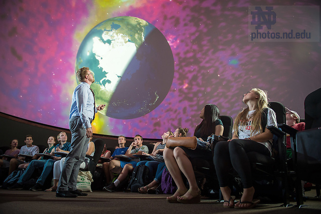 Sept. 8, 2015; Keith Davis gives a demonstration to undergraduate students in the Digital Visualization Theater in Jordan Hall of Science. (Photo by Matt Cashore/University of Notre Dame)
