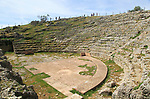 Remains of Roman theatre seating area, Acinipo Roman town site Ronda la Vieja, Cadiz province, Spain