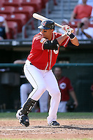 August 22 2008:  Catcher Victor Martinez of the Buffalo Bisons, Class-AAA affiliate of the Cleveland Indians, during a game at Dunn Tire Park in Buffalo, NY.  Photo by:  Mike Janes/Four Seam Images