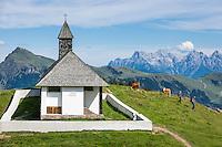 Austria, Tyrol, above Kitzbuhel: St. Bernhard chapel (also Hahnenkamm-Chapel), at background Loferer Steinberge mountains | Oesterreich, Tirol, oberhalb Kitzbuehel: St. Bernhard Kapelle (auch Hahnenkamm-Kapelle), im Hintergrund die Loferer Steinberge