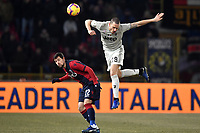 Mattia Destro of Bologna and Leonardo Bonucci of Juventus compete for the ball during the Italy Cup 2018/2019 football match between Bologna and Juventus at stadio Renato Dall'Ara, Bologna, January 12, 2019 <br />  Foto Andrea Staccioli / Insidefoto