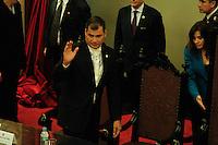 SAO PAULO, SP, 15/07/2014  -  Encontro com o presidente do Equador Rafael Correa. O presidente do Equador se reuniu com alunos de direito no Salão Nobre da Faculdade de Direito da USP no Lago Sao Francisco na regiao central de Sao Paulo na tarde desta terça-feira (15).  Foto: Amauri Nehn/Brazil Photo Press).