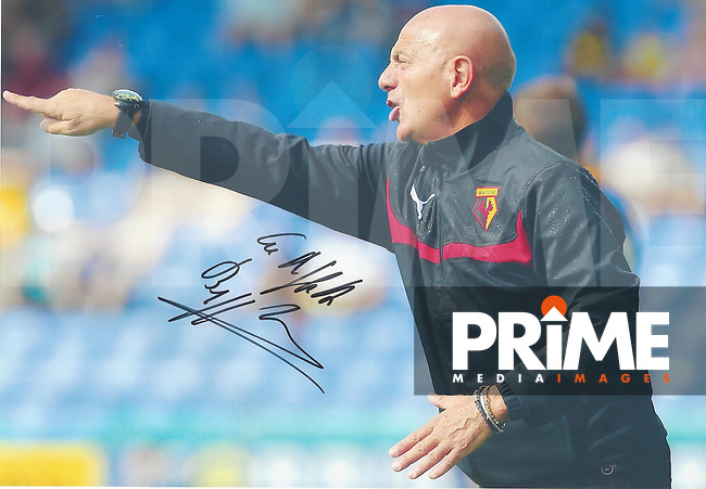 Beppe Sannino of Watford Signed Photos at Shrewsbury FC, England on 2 July 2014. Photo by Andy Rowland.