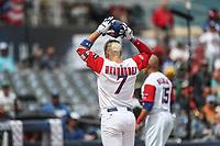 Kike Hernadez Puerto Rico , durante el partido entre Italia vs Puerto Rico, World Baseball Classic en estadio Charros de Jalisco en Guadalajara, Mexico. Marzo 12, 2017. (AP Photo/Luis Gutierrez)