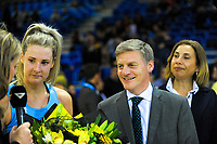 NZ prime minister Bill English and his wife Mary (right), as Jane Watson is awarded match MVP after the ANZ Premiership netball match between the Central Pulse and Northern Stars at Te Rauparaha Arena in Wellington, New Zealand on Wednesday, 24 May 2017. Photo: Dave Lintott / lintottphoto.co.nz