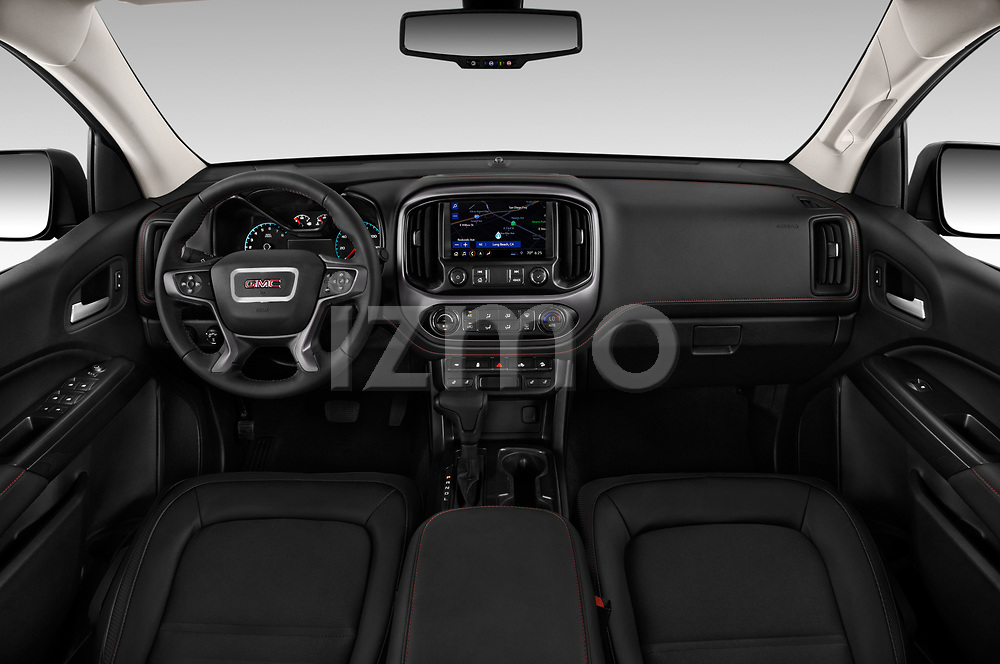 Stock photo of straight dashboard view of a 2019 GMC Canyon Allterrain 4 Door Pick Up