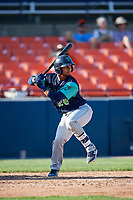 Lynchburg Hillcats catcher Angel Lopez Alvarez (20) at bat during the first game of a doubleheader against the Frederick Keys on June 12, 2018 at Nymeo Field at Harry Grove Stadium in Frederick, Maryland.  Frederick defeated Lynchburg 2-1.  (Mike Janes/Four Seam Images)