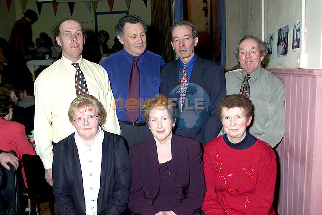 Tom McCullough, Pat Drumgoole, Tommy Mulholland, Jim McArdle, Maura Duffy, Madge Martin and Bridget Osbourne at Aclint National School's reunion..Picture Paul Mohan Newsfile