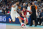 Real Madrid Jeffery Taylor and Baskonia Vitoria Matt Janning during Turkish Airlines Euroleague match between Real Madrid and Baskonia Vitoria at Wizink Center in Madrid, Spain. January 17, 2018. (ALTERPHOTOS/Borja B.Hojas)