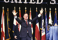 Washington DC., USA, 1991<br /> President George  H.W. Bush arrives at the Veterans of Foreign Wars convention in Washington DC. Credit: Mark Reinstein/MediaPunch