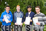Shane Lyne, Alex Bruggener, Aaron Fleming and Brian O'Leary all Killarney happy and relieved after they collected the Leaving Cert results in St Brendan's College on Wednesday