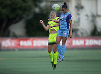 Seattle, WA - Saturday July 23, 2016: Elli Reed, Kristen Edmonds during a regular season National Women's Soccer League (NWSL) match between the Seattle Reign FC and the Orlando Pride at Memorial Stadium.