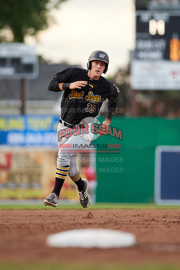 West Virginia Black Bears designated hitter Luke Mangieri (39) runs the bases during a game against the Batavia Muckdogs on June 19, 2018 at Dwyer Stadium in Batavia, New York.  West Virginia defeated Batavia 7-6.  (Mike Janes/Four Seam Images)
