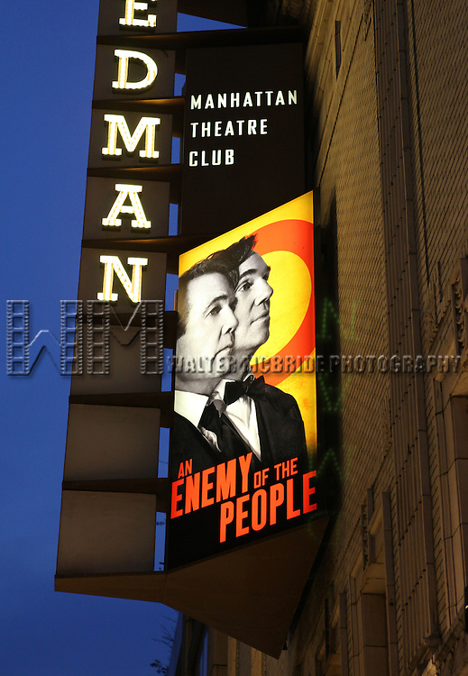 Theatre Marquee for the Broadway Opening Night Performance of 'An Enemy of the People' at the Samuel J. Friedman Theatre in New York. Sept. 27, 2012