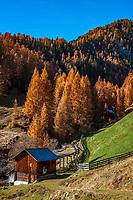 Italien, Suedtirol (Trentino - Alto Adige), St. Martin in Thurn - Ortsteil und Bergsteigerdorf Campill im Campilltal: alte Muehle im Weiler Seres im Muehlental, in ladinischer Sprache 'Val di Morins' | Italy, South Tyrol (Trentino - Alto Adige), Campill Valley (Val di Longiarù): mountain village Campill (Longiarù) - hamlet Seres, old mill in Mill Valley 'Val di Morins'