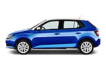 Car Driver side profile view of a 2015 Skoda Fabia Ambition 5 Door Hatchback Side View