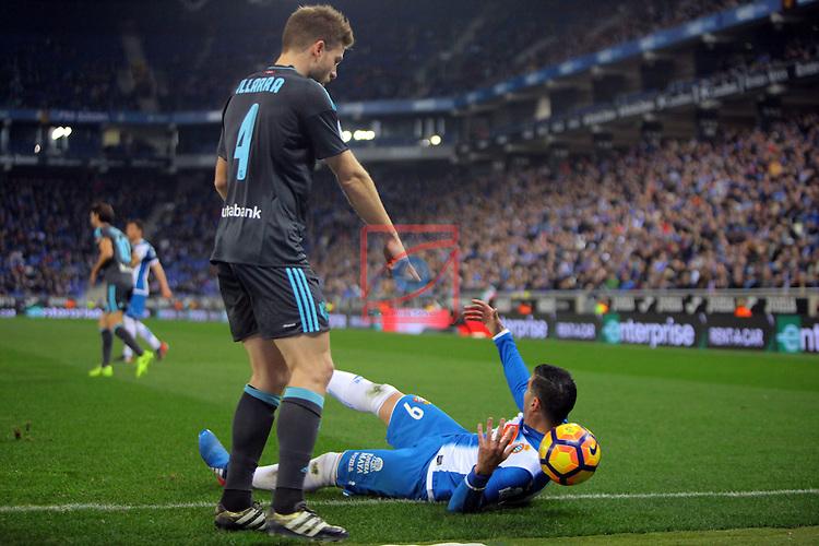 League Santander 2016/2017. Game: 22.<br /> RCD Espanyol vs Real Sociedad: 1-2.<br /> Illarra vs Jose Antonio Reyes.