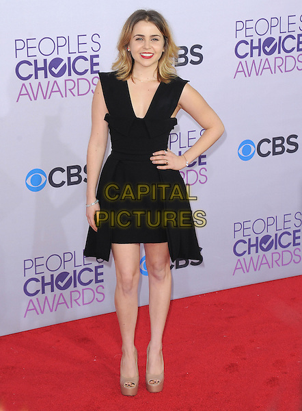 Mae Whitman.The 2013 People's Choice Awards held at Nokia Live in Los Angeles, California 9th January 2013                                                                   .full length black dress beige peep toe platform shoes hand on hip.CAP/DVS.©DVS/Capital Pictures.