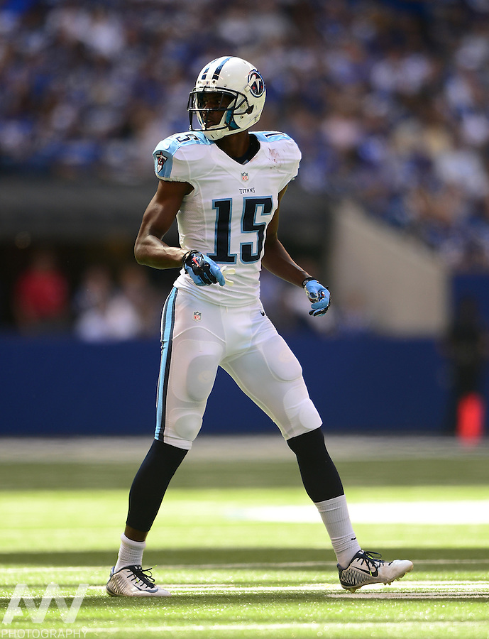 Sep 28, 2014; Indianapolis, IN, USA; Tennessee Titans wide receiver Justin Hunter (15) against the Indianapolis Colts at Lucas Oil Stadium. Mandatory Credit: Andrew Weber-USA TODAY Sports