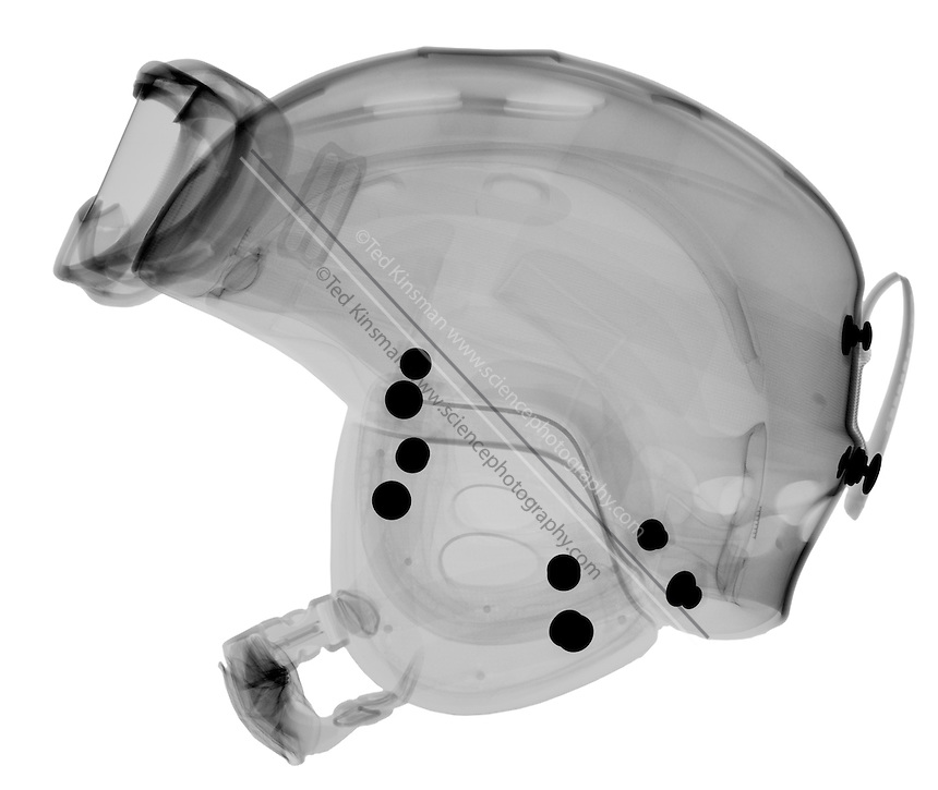 X-Ray of a Ski Helmet with goggles.