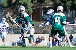 Los Angeles, CA 02/06/16 - Trey Chambers (Cal Poly #32), Troy Brown (Cal Poly #4) and Daniel Wong (Loyola Marymount #3)in action during the Cal Poly SLO Mustangs vs Loyola Marymount Lions MCLA Men's Lacrosse game.  Cal Poly defeated LMU 24-5