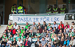 Stockholm 2014-08-24 Fotboll Superettan Hammarby IF - Ljungskile SK :  <br /> Ljungskiles supportrar med en banderoll<br /> (Foto: Kenta J&ouml;nsson) Nyckelord:  Superettan Tele2 Arena Hammarby HIF Bajen Ljungskile LSK supporter fans publik supporters