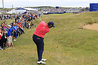 Jon Rahm (ESP) plays his 2nd shot from the rough on the 18th hole during Sunday's Final Round of the Dubai Duty Free Irish Open 2019, held at Lahinch Golf Club, Lahinch, Ireland. 7th July 2019.<br /> Picture: Eoin Clarke | Golffile<br /> <br /> <br /> All photos usage must carry mandatory copyright credit (© Golffile | Eoin Clarke)