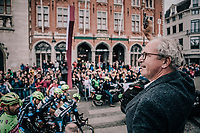 Mayor of Bruges, Renaat Landuyt, giving the start shot. <br /> <br /> <br /> 2nd Elfstedenronde 2018<br /> 1 day race: Brugge - Brugge 196.3km