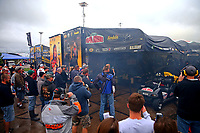 May 19, 2017; Topeka, KS, USA; Fans surround the pit area of NHRA top fuel driver Leah Pritchett during qualifying for the Heartland Nationals at Heartland Park Topeka. Mandatory Credit: Mark J. Rebilas-USA TODAY Sports