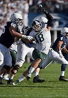 STATE COLLEGE, PA - OCTOBER 13: Michigan State DE Kenny Willekes (48) fights off a block by Penn State G Connor McGovern (66) while rushing the quarterback. The Michigan State Spartans defeated the Penn State Nittany Lions 21-17 on October 13, 2018 at Beaver Stadium in State College, PA. (Photo by Randy Litzinger/Icon Sportswire)