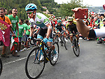 White Jersey Miguel Angel Lopez Moreno (COL) Astana Pro Team on the final climb during Stage 12 of La Vuelta 2019 running 171.4km from Circuito de Navarra to Bilbao, Spain. 5th September 2019.<br /> Picture: Colin Flockton | Cyclefile<br /> <br /> All photos usage must carry mandatory copyright credit (© Cyclefile | Colin Flockton)