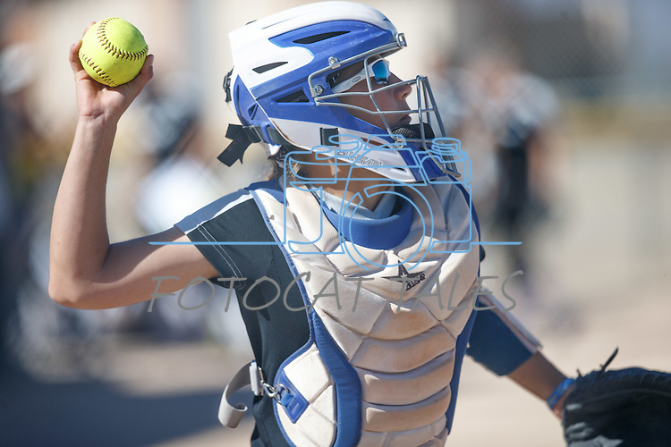 Western Nevada's Bailey Henderson throws against Colorado North Western at Edmonds Sports Complex Carson City, Nev., on Friday, March 18, 2016.<br /> Photo by Jeff Mulvihill, Jr.