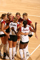 27 October 2005: Michelle Mellard, Jessica Fishburn, Courtney Schultz, Kristin Richards during Stanford's 3-0 win over Oregon at Maples Pavilion in Stanford, CA.