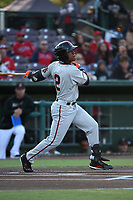 Jalen Miller (2) of the San Jose Giants bats against the Inland Empire 66ers at San Manuel Stadium on April 8, 2017 in San Bernardino, California. (Larry Goren/Four Seam Images)