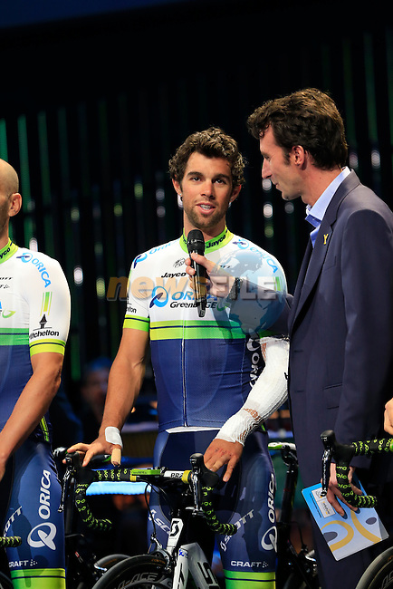 Michael Matthews (AUS) Orica GreenEdge team on stage at the Team Presentations held in the Leeds First Direct Arena before the Grand Depart of the 2014 Tour de France. 3rd July 2014.<br /> Picture: Eoin Clarke www.newsfile.ie