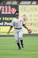 West Virginia Power left fielder Candon Myles (16) tracks a fly ball during the game against the Kannapolis Intimidators at CMC-Northeast Stadium on April 29, 2014 in Kannapolis, North Carolina.  The Intimidators defeated the Power 1-0.  (Brian Westerholt/Four Seam Images)