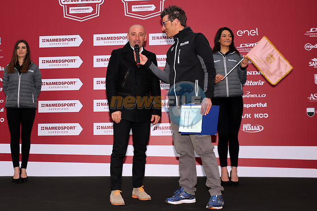 Former champion Paolo Bettini (ITA) at sign on before the start of the 2017 Strade Bianche running 175km from Siena to Siena, Tuscany, Italy 4th March 2017.<br /> Picture: Heinz &amp; Sabine Zwicky/Radsport.ch | Newsfile<br /> <br /> <br /> All photos usage must carry mandatory copyright credit (&copy; Newsfile | Heinz &amp; Sabine Zwicky/Radsport.ch)